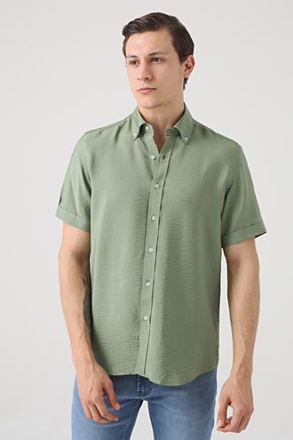 Twn Regular Fit Yeşil Düz Gömlek - 8682445088243   D'S Damat