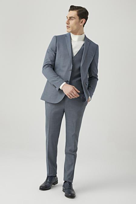 Tween Slim Fit Lacivert Yelekli Takım Elbise - 8681649444053 | D'S Damat