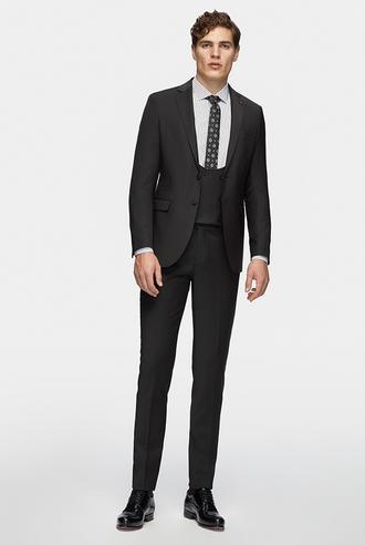 Tween Slim Fit Siyah Düz Yelekli Takım Elbise - 8681649318255 | D'S Damat