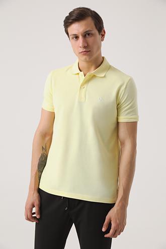 Ds Damat Regular Fit Sarı Pike Dokulu T-shirt - 8682060907295 | D'S Damat