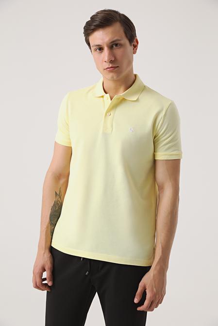 Ds Damat Regular Fit Sarı Pike Dokulu T-shirt - 8682060907295   D'S Damat