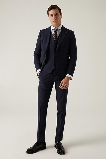 Damat Regular Fit Lacivert Yelekli Takım Elbise - 8682364708888   Damat Tween