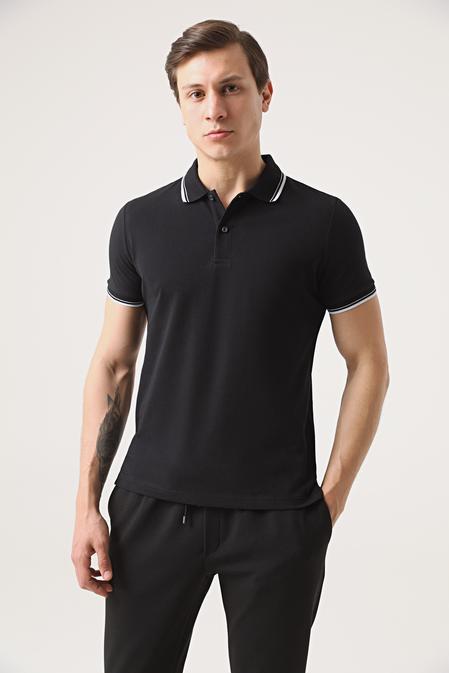 Twn Slim Fit Siyah Pike Dokulu T-shirt - 8682060907844 | D'S Damat