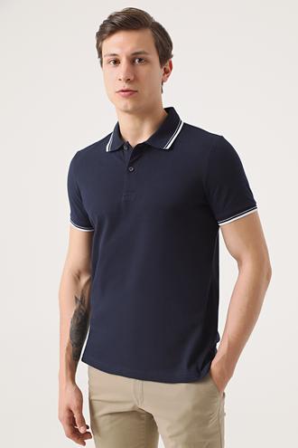 Twn Slim Fit Lacivert Pike Dokulu T-shirt - 8682060907899 | D'S Damat