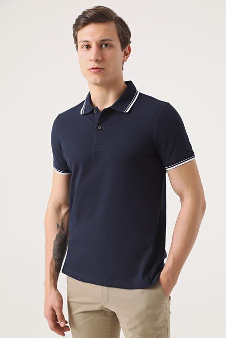 Twn Slim Fit Lacivert Pike Dokulu T-shirt - 8682060907899   D'S Damat