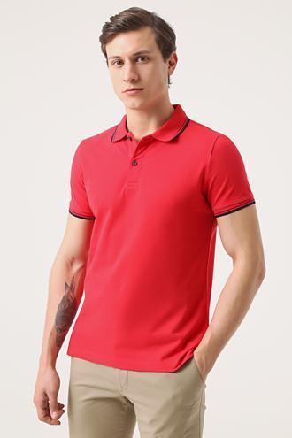 Twn Slim Fit Kırmızı Pike Dokulu T-shirt - 8682060907998 | D'S Damat