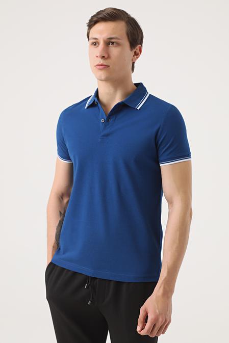 Twn Slim Fit Saks Mavi Pike Dokulu T-shirt - 8682060908087 | D'S Damat