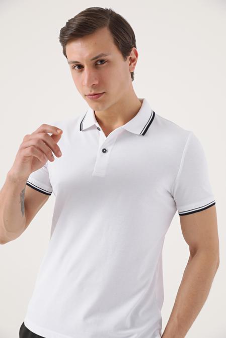 Twn Slim Fit Beyaz Pike Dokulu T-shirt - 8682060908117 | D'S Damat