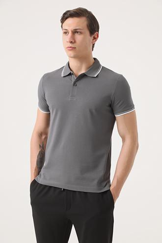Twn Slim Fit Antrasit Pike Dokulu T-shirt - 8682060908179 | D'S Damat
