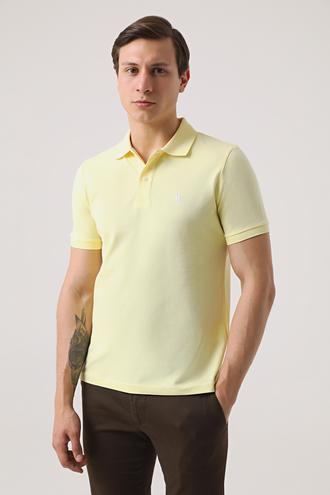 Ds Damat Regular Fit Sarı Pike Dokulu T-shirt - 8682060906403 | D'S Damat