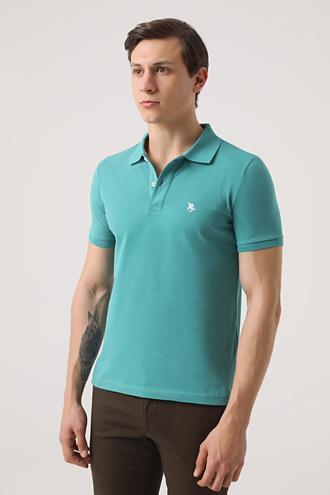 Ds Damat Regular Fit Yeşil Pike Dokulu T-shirt - 8682060976024 | D'S Damat