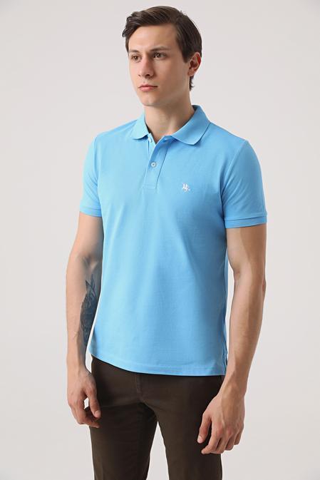 Ds Damat Regular Fit Mavi Pike Dokulu T-shirt - 8682060906465 | D'S Damat