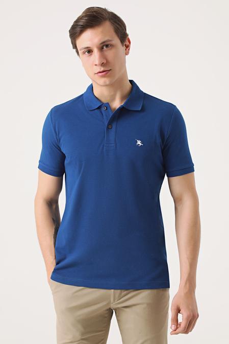 Ds Damat Regular Fit Saks Mavi Pike Dokulu T-shirt - 8682060976260   D'S Damat