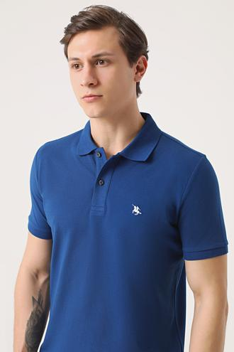 Ds Damat Regular Fit Saks Mavi Pike Dokulu T-shirt - 8682060906533 | D'S Damat