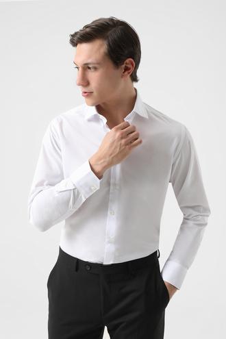Ds Damat Regular Fit Beyaz Armürlü Gömlek - 8682060256478 | D'S Damat