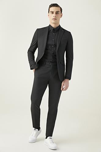 Tween Slim Fit Siyah Düz Travel Takım Elbise - 8682364421305 | Damat Tween