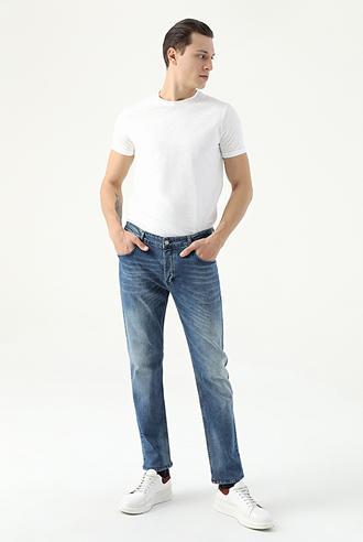 Damat Slim Fit İndigo Denim Pantolon - 8681649673279 | D'S Damat
