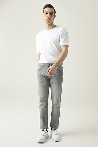 Damat Slim Fit Gri Denim Pantolon - 8682364201990 | D'S Damat