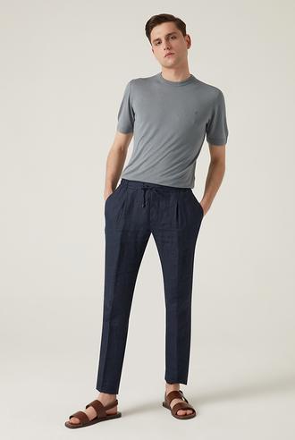 Damat Slim Fit Lacivert Düz Kumaş Pantolon - 8682364484454   Damat Tween