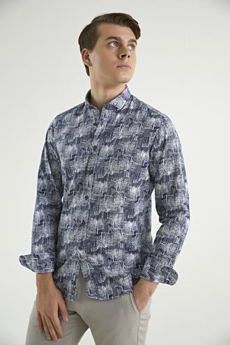 Twn Slim Fit Lacivert Baskılı Gömlek - 8682060836199 | D'S Damat