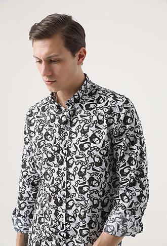 Tween Slim Fit Siyah Baskılı Gömlek - 8682364531721   Damat Tween