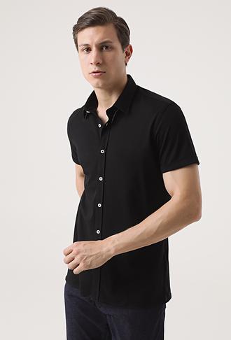 Tween Slim Fit Siyah Örme Gömlek - 8682364652525 | Damat Tween