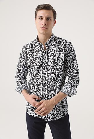 Tween Slim Fit Siyah Baskılı Gömlek - 8682364652617 | Damat Tween