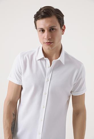 Tween Slim Fit Beyaz Örme Gömlek - 8682364652754 | Damat Tween