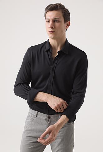 Tween Slim Fit Siyah Baskılı Örme Gömlek - 8682364652990 | Damat Tween