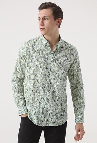 Tween Slim Fit Yeşil Baskılı Gömlek - 8682364768998 | Damat Tween