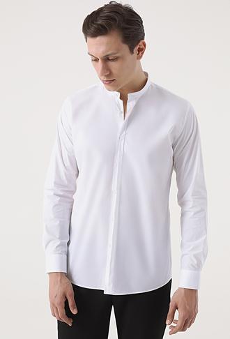 Tween Slim Fit Beyaz Desenli Gömlek - 8682364660506 | Damat Tween