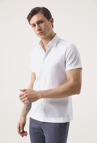 Twn Slim Fit Beyaz Düz Stretch Gömlek - 8682445288704 | D'S Damat