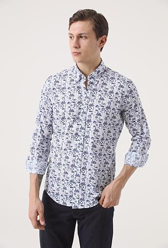 Ds Damat Slim Fit Lacivert Baskılı Gömlek - 8682445311600 | D'S Damat