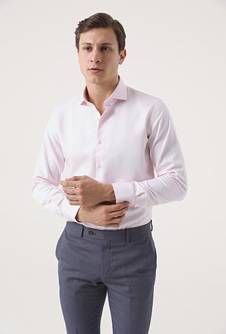 Ds Damat Slim Fit Pembe Armürlü Gömlek - 8682445312676 | D'S Damat