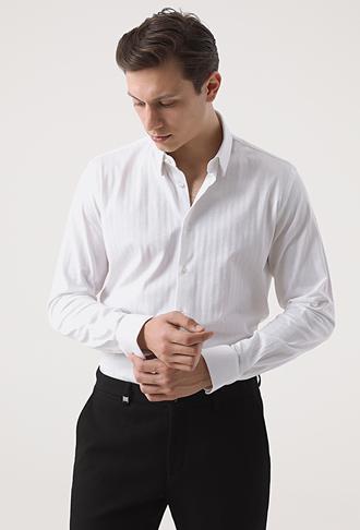 Tween Slim Fit Beyaz Örme Gömlek - 8682364503537 | Damat Tween