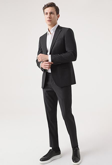 Damat Slim Fit Siyah Düz Superfine Wool Takım Elbise - 8682364875351 | Damat Tween