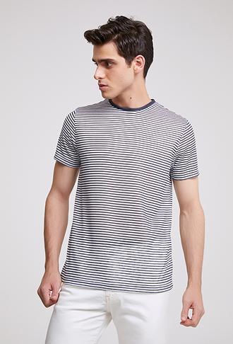 Twn Slim Fit Lacivert Çizgili T-shirt - 8682445013429 | D'S Damat