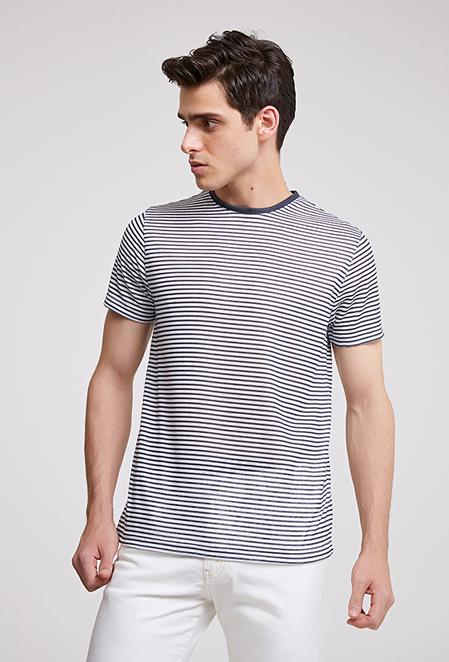 Twn Slim Fit Lacivert Çizgili T-shirt - 8682445013429   D'S Damat