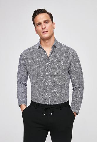Twn Slim Fit Siyah Baskılı Gömlek - 8682060916907 | D'S Damat