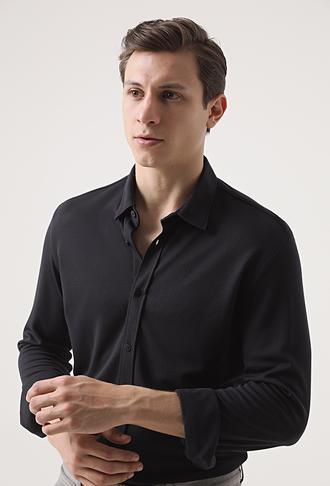 Tween Slim Fit Siyah Baskılı Örme Gömlek - 8682364503711 | Damat Tween