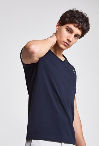 Twn Slim Fit Lacivert Düz T-shirt - 8682445308341 | D'S Damat