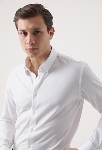 Tween Slim Fit Beyaz Örme Gömlek - 8682364660216 | Damat Tween