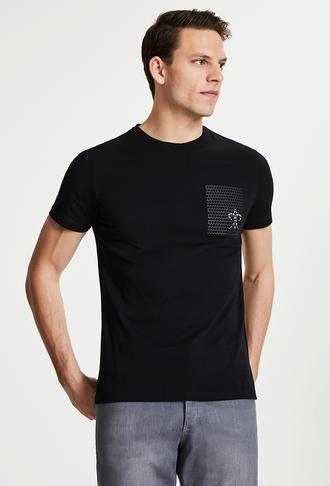 Damat Siyah Çizgili Baskılı T-shirt - 8682364584017 | Damat Tween