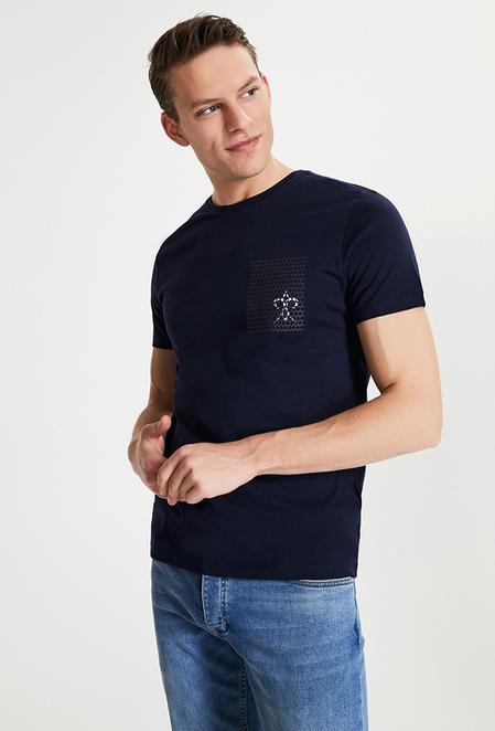 Damat Lacivert Çizgili Baskılı T-shirt - 8682364584086 | Damat Tween