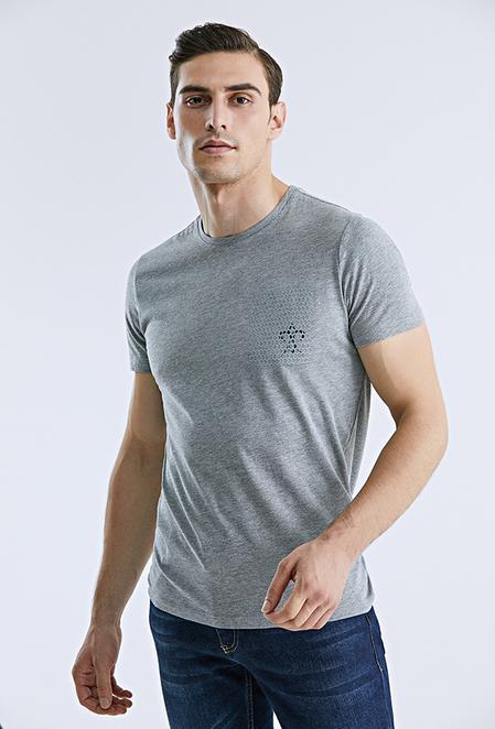 Damat Gri Çizgili Baskılı T-shirt - 8682364584130 | Damat Tween