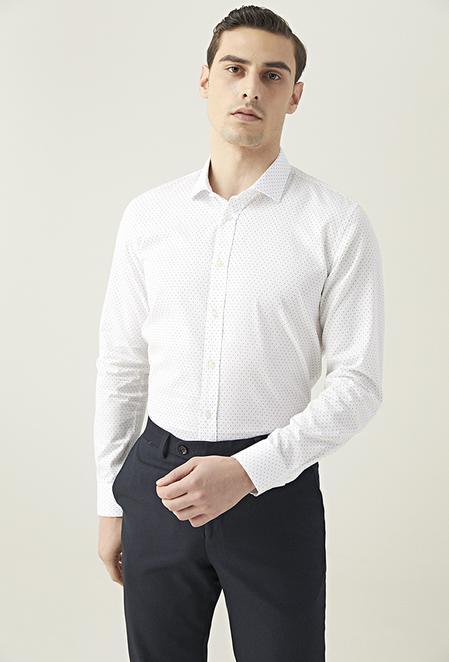 Tween Slim Fit Beyaz Armürlü Gömlek - 8682364640867 | Damat Tween