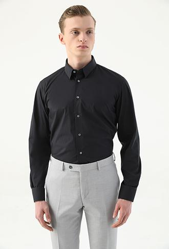 Damat Slim Fit Siyah Düz Gömlek - 8682364798599 | Damat Tween