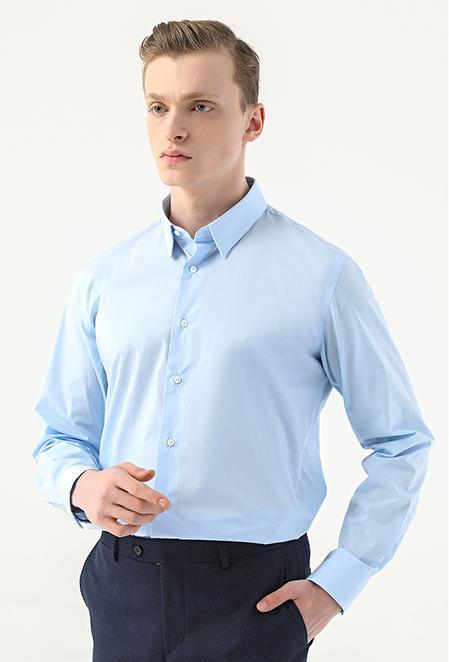 Damat Slim Fit Mavi Düz Gömlek - 8682364798797 | Damat Tween