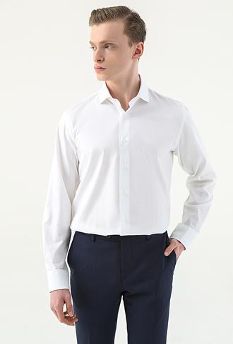 Damat Slim Fit Beyaz Desenli Gömlek - 8682364799596 | Damat Tween