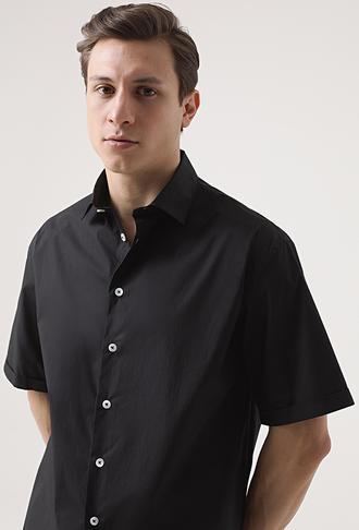 Tween Oversize Siyah Düz Gömlek - 8682364699902 | Damat Tween